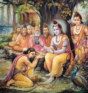 Bharata accepts the sandals of Rama