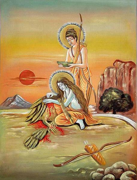 Rama and Lakshmana wash the Wounds of Jatayu