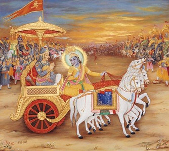 Krishna draws the chariot between both forces at the brink of war