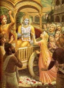 Queen Kunti offering prayers to Lord Krishna on His departure