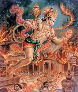Hanuman setting Lanka on fire