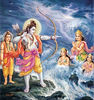 Rama aims his bow at the ocean