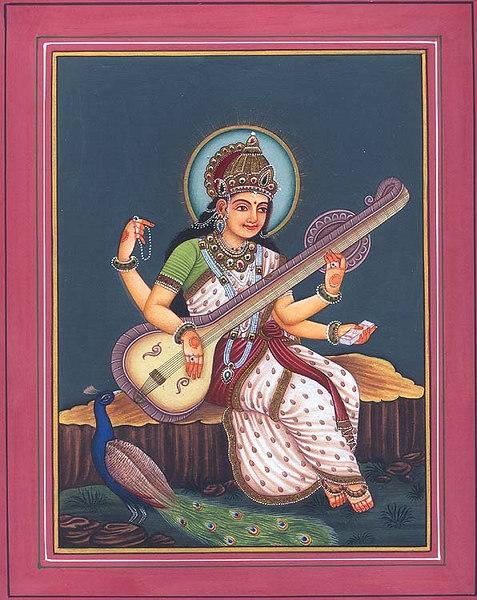 Goddess Saraswati with Mayur