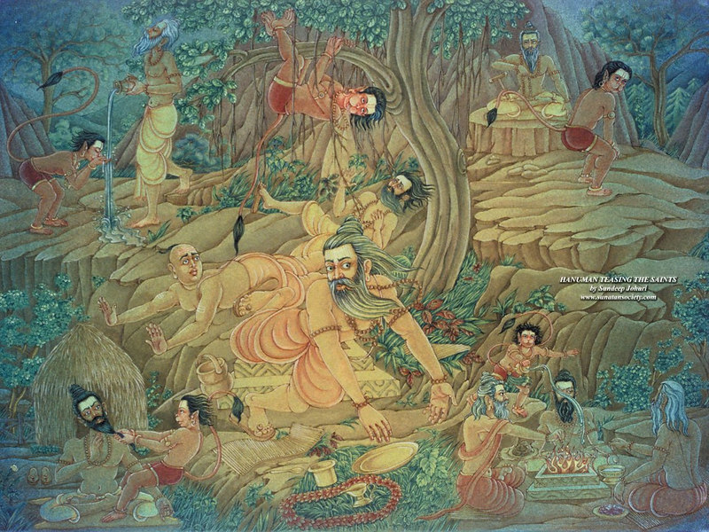 Young Hanuman teasing the saints in the forest