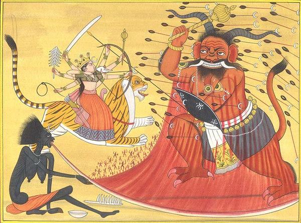Durga and Kali Annihilate Raktabija