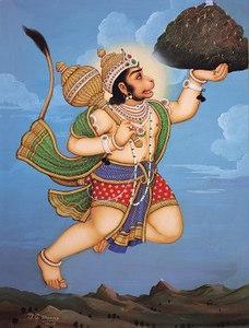 Hanuman carries a mountain peak
