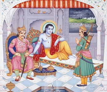 Duryodhana and Arjuna visiting Krishna