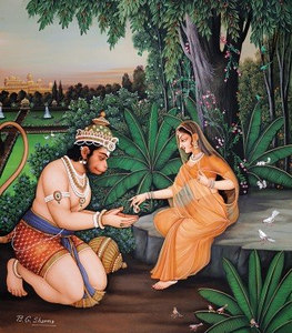 Sita gives a jewel to Hanuman