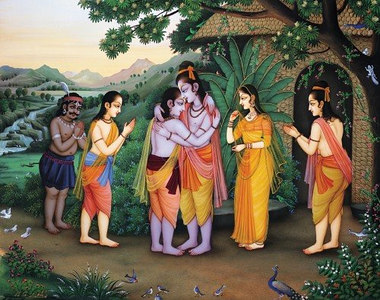 Bharata meets Rama in the forest