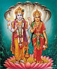 Standing portrait of Lakshmi and Vishnu on Lotus