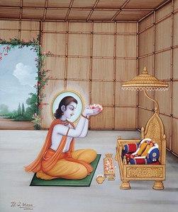 Bharata worships Rama's shoes