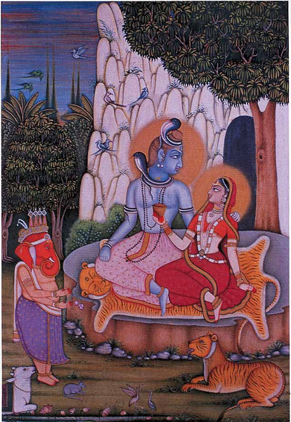 Red Ganapati, Parvati and Mahesh