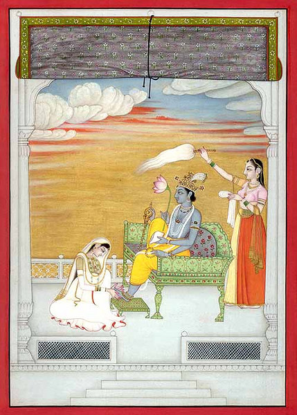 radha washes krishnas feet