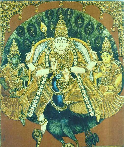 Lord Subhramanya with Veli and Devyanai