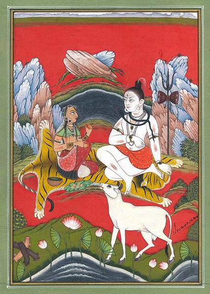 Shiva-Parvati & Nandi on Kailasha