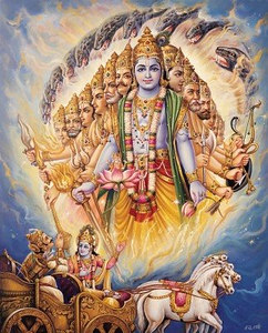 Krishna revealing His Universal Form to Arjuna