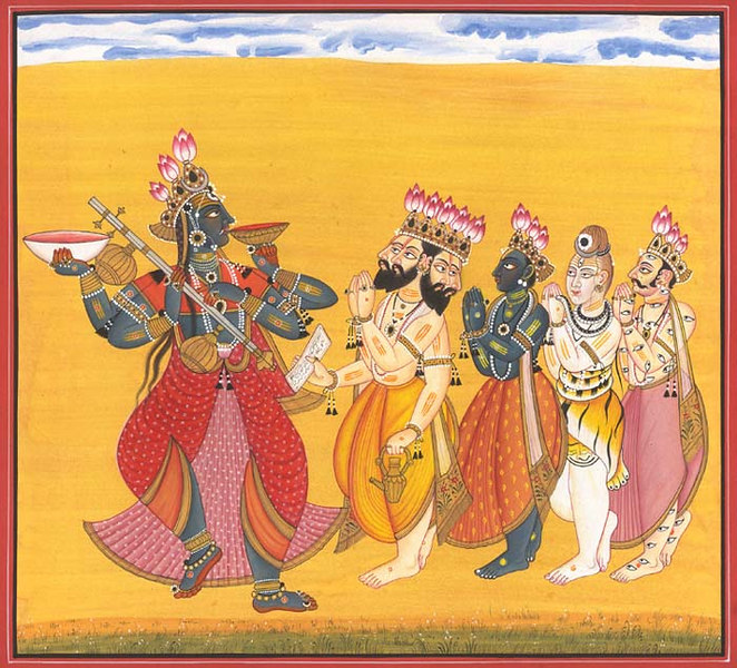 Trinity Pay Homage with Indra to the Great Goddess