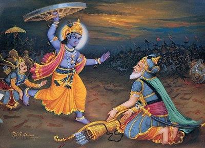Krishna Attacks Bhishma
