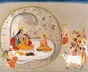 Lord Vishnu on Shesha with Gods offering prayers