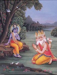 Brahma Offers Prayers to Krishna
