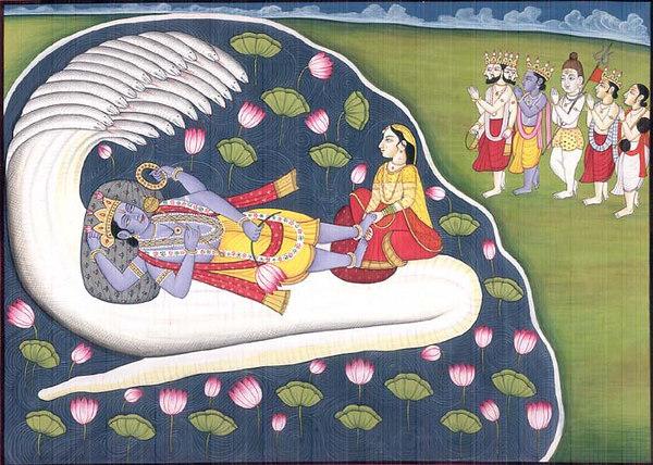 Gods and Rishis Praying Vishnu for Eliminating Kansa