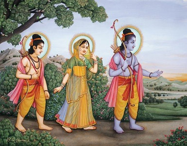 Sita, Rama and Lakshmana begin their journey