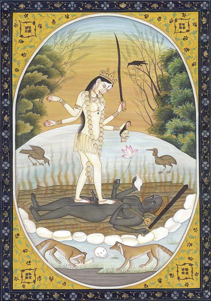 White Kali Standing on Dark Shiva