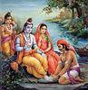 Boatman washing Rama's feet