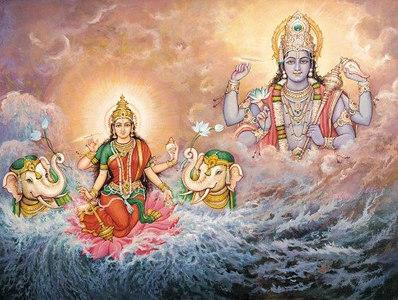 Goddess Lakshmi with elephants and Lord Vishnu in the ocean