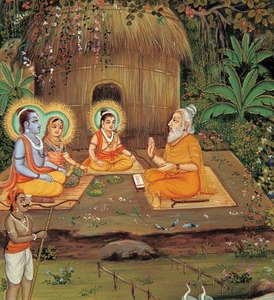 Rama, Sita and Lakshman at Valmiki's ashram