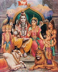 Shiva, Parvati, with other gods