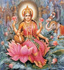 Goddess Lakshmi seated upon a lotus