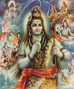 Shiva surrounded by his pastimes
