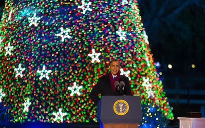 President Obama speaks during the National Christmas Tree Lighting Ceremony on the Ellipse, just south of the White House in Washington D.C. on December 6, 2012.  (Photo by Jeff Malet)