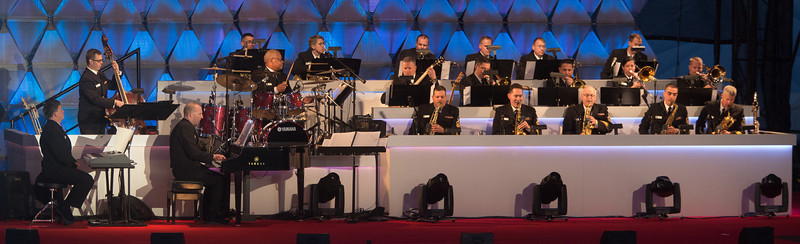 U.S. Navy Band Commodores entertain at the 90th annual lighting of the National Christmas Tree. President Barack Obama and the First Family flicked the switch to light up the tree before an estimated crowd of 17,000 on the Ellipse, near the White House in Washington D.C. on December 6, 2012  (Photo by Jeff Malet)