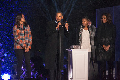 President Obama joked that he would only count down from five to light the tree, since he didn't want to keep anyone waiting in the rainy weather.