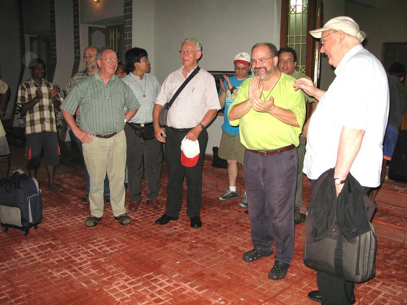 The arrival of the SCJ guests:  Fr. Petrus Mujiono, SCJ (Indonesia) Fr. Blasius Sukoto, SCJ (Indonesia) Fr. Heinz Baart, SCJ (Hollland-Flemish) Fr. Harry Peels, SCJ (Holland-Flemish) Fr. Westendorf, SCJ (Germany) Fr. Andreas Madhya Srijanta, SCJ (General Councilor) Fr. Andrzej Sudol. SCJ (Philippines) Mr Hennie Reijnen (Holland-Flemish) Fr. David Szatkowski, SCJ (USA) Fr. Jack Kurps, SCJ (USA) and Ms. Annie & V.D. Heyden-Kuunders (Fr. Martin´s niece and her husband -Holland)