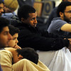 "Mohammed Elzein, center, listens to the speaker during the first Friday service.<br /> Muslims attend worship at the new location of the Islamic Center of Boulder at 55th Street and Baseline Rd.<br /> For more photos of the Islamic Center, go to  <a href=""http://www.dailycamera.com"">http://www.dailycamera.com</a>.<br /> Cliff Grassmick / November 11, 2011"