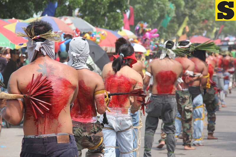 A long line of penitents in Barangay Lourdes North West in Angeles City.
