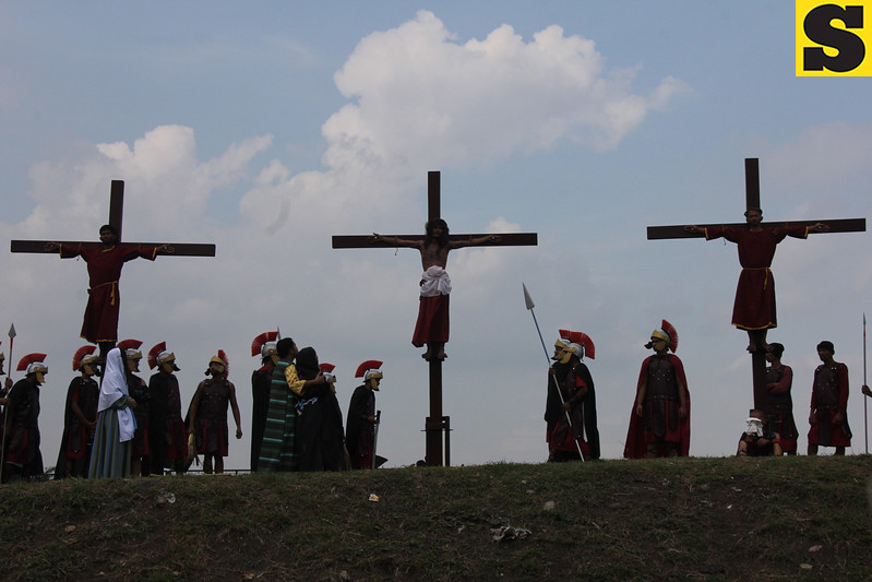 Three people were nailed to the cross during rites held in Barangay San Vicente, Bacolor town.
