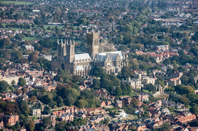 Aerial photo of Lincoln Cathedral in Lincolnshire.