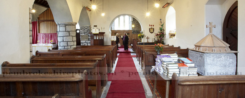 St Marcellus Church, Martletwy. Members being interviewd by BBC Radio Wales.