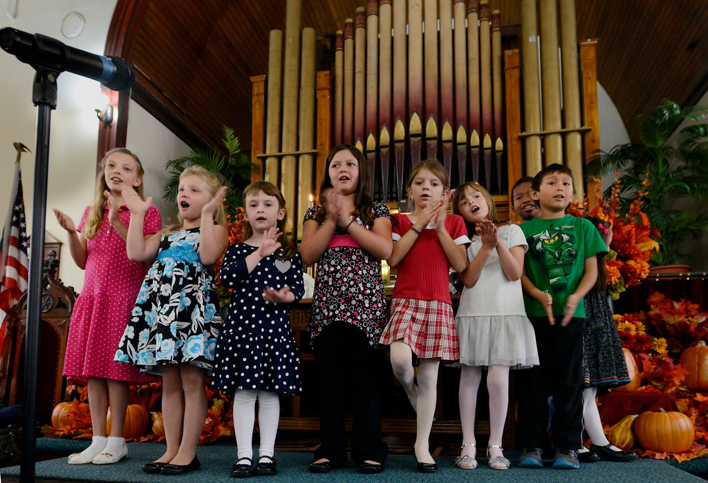 . Mike McMahon - The Record, children from The Melrose United Methodist Church Children\'s Choir sing at the 160th Anniversary, September 29, 2013.