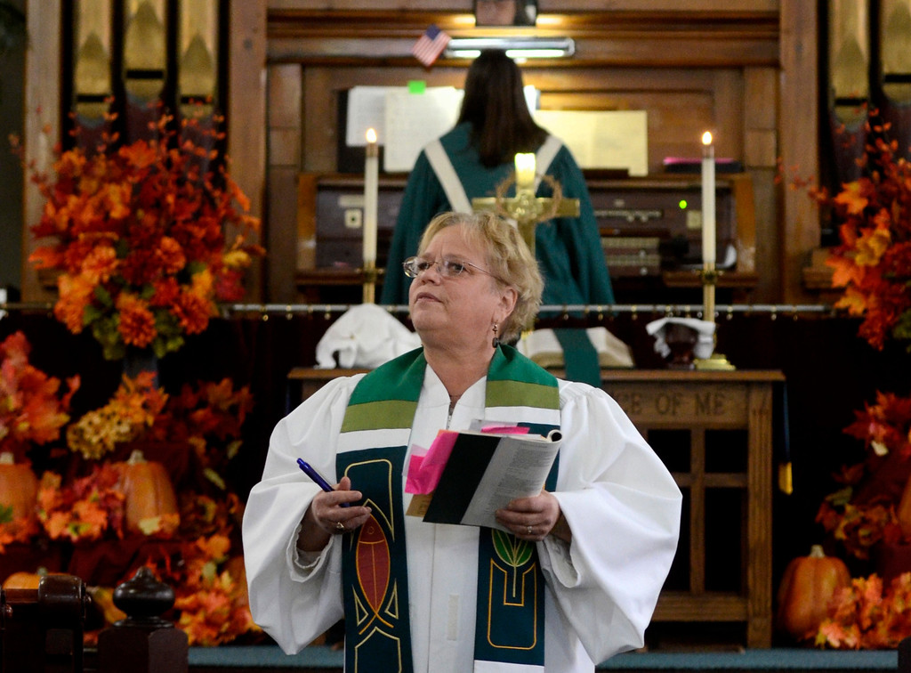 . Mike McMahon - The Record, Pastor Ginny Deyo speaks at the Melrose United Methodist Church 160th Anniversary, September 29, 2013.