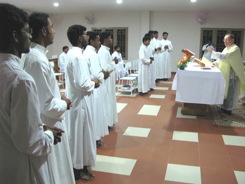 Fr. Martin calls forth those who will receive the ministries of Lector and Acolyte.