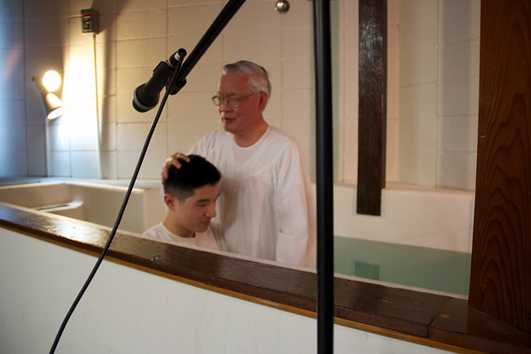 Mom and David Being Baptized on April 29, 2012