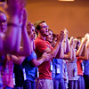 """Teens from all over the diocese participate in praise and worship Friday night. 1,400 middle school and high school youth attended the annual Diocesan Catholic Youth Conference on July 13-15, 2012 at the Hyatt DFW Airport. The conference featured Mass, workshops, music, entertainment, prayer and keynote addresses focusing on the theme """"Ignite My Heart, I Burn For You."""""""