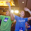 """(L-R) Cristian Diaz, Robert Ybarra, and Ricardo Diaz (Cristian's brother) sing praise on Friday night before the first keynote. They are all from St. Elizabeth Ann Seton. 1,400 middle school and high school youth attended the annual Diocesan Catholic Youth Conference on July 13-15, 2012 at the Hyatt DFW Airport. The conference featured Mass, workshops, music, entertainment, prayer and keynote addresses focusing on the theme """"Ignite My Heart, I Burn For You."""""""