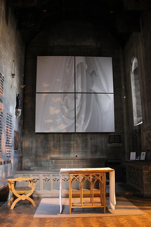 'STILL': A 12 foot painting by the Scottish artist Alison Watt. It was installed in the Memorial Chapel during the 2004 Edinburgh International Festival. 28 April 2012