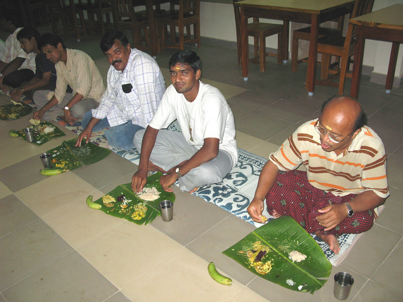 The special meal is vegetarian.  It is served on banana leaves.